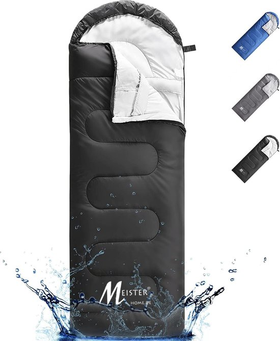 Meisterhome® mummy slaapzak kamperen zwart ca. 220 x 75 cm met draagtas