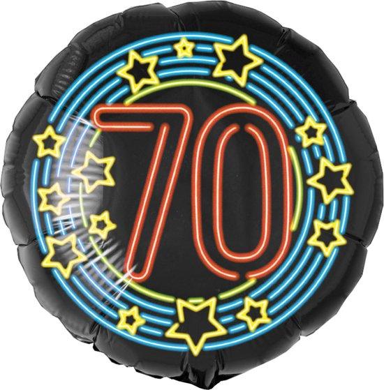 Helium Ballon 70 Jaar Neon 46cm leeg
