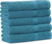 Dreamhouse Handdoeken - Set van 5 - 70x140 cm - 100% Katoen - Zee Blauw
