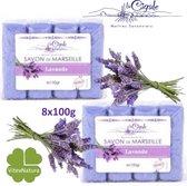 Glycerine en lavendel Marseille zeep 8x100g merk La Cigale. Bio persoonlijke hygiëne VOORDEEL pakket. Biologisch ecologisch.