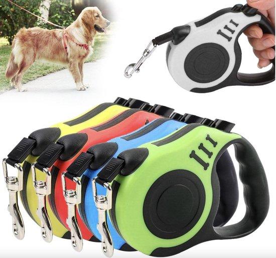 Hondenriem intrekbare Rollijn 3 meter zwart/wit Puppy en kleine hondenrassen - Geschikt voor zowel hond als kat - Duurzame riem uitlaatriem Huisdier