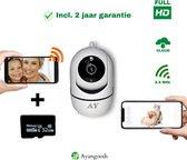 Ayangoods - Huisdiercamera - Hondencamera – Dog Camera - Baby Camera - Gratis SD kaart 32GB!  – Pet Camera – Babyfoon Met Camera - Wifi - Werkt met app - Full HD - Two-way Audio - Nachtzicht - Beweeg en Geluidsdetectie - IP Camera - Petcam - Wit