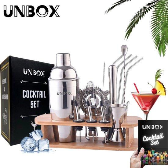 UNBOX – 18-delige Luxe Cocktail Shaker Set – 750 ml - Luxe Cadeauverpakking - Incl. Nederlandstalig Receptenboek & RVS Rietjes