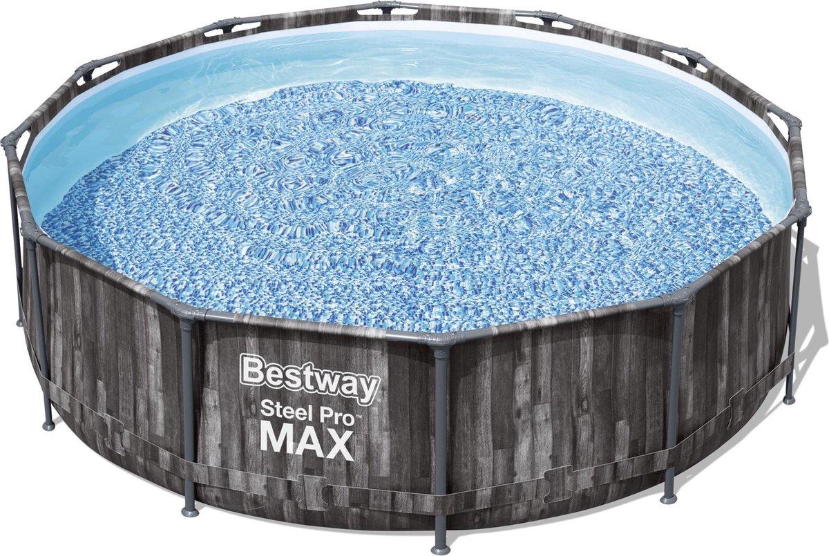 Bestway Steel Pro Max zwembad houtlook 366x100 cm - met filterpomp en ladder