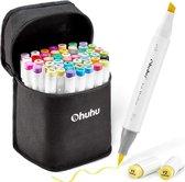Ohuhu - Alcohol based Art markers Brush & chisel - set van 48 + Blender + etui