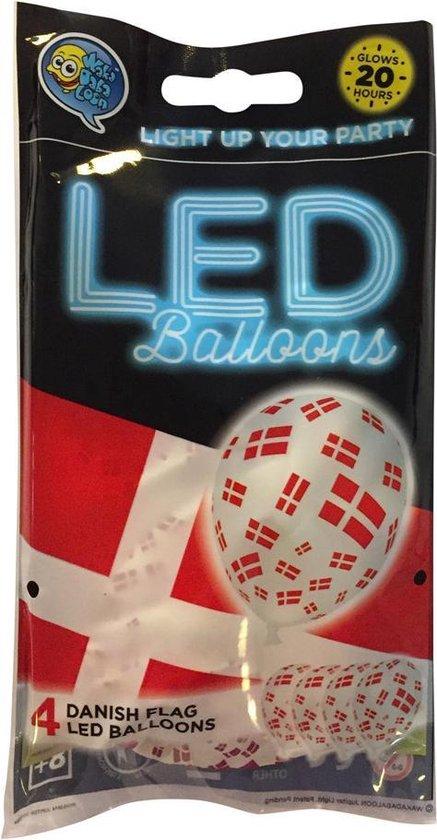 Wefiesta Ballonnen Led Denmark 25 Cm Latex Wit/rood 4 Stuks