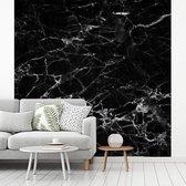 Behang - Fotobehang Marmer - Steen - Zwart - Wit - Breedte 300 cm x hoogte 300 cm