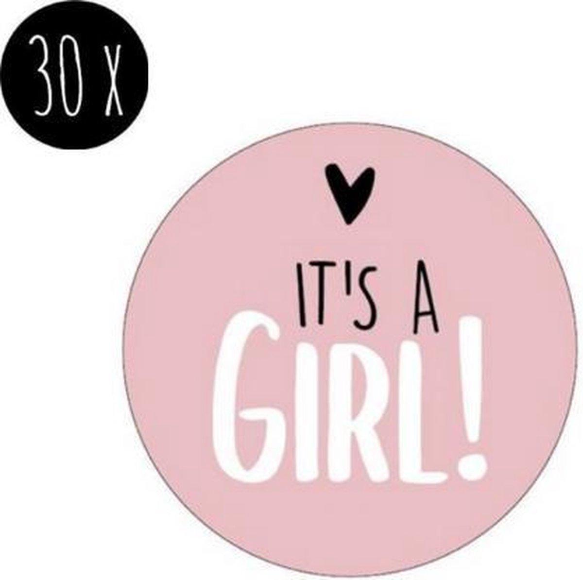 30x Sluitsticker It's a Girl! | Roze | 40 mm | Geboorte Sticker | Sluitzegel | Sticker Geboortekaart | Baby nieuws | Zwangerschap |Luxe Sluitzegel