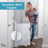 ADSafety Oprolbaar Traphekje - Wit  - Veiligheid in huis - Luxe Mesh - Veiligheidshekje voor Baby - Kinderhekje - Hondenhek
