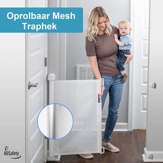 ADSafety - Oprolbaar Traphekje - Wit - Veiligheid in huis - Luxe Mesh - Veiligheidshekje voor Baby - Kinderhekje - Hondenhek