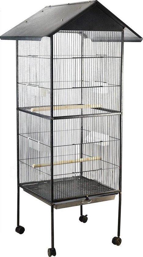 BrightWise® Volière Rolbaar Design Inclusief voerbakken, zitstokken & schommels - Grote Vogelkooi - Papegaaienkooi - Parkietenkooi - Vogelkooien voor binnen en buiten - 2 Deuren - Uitneembare lade - 160 x 52 x 52 cm