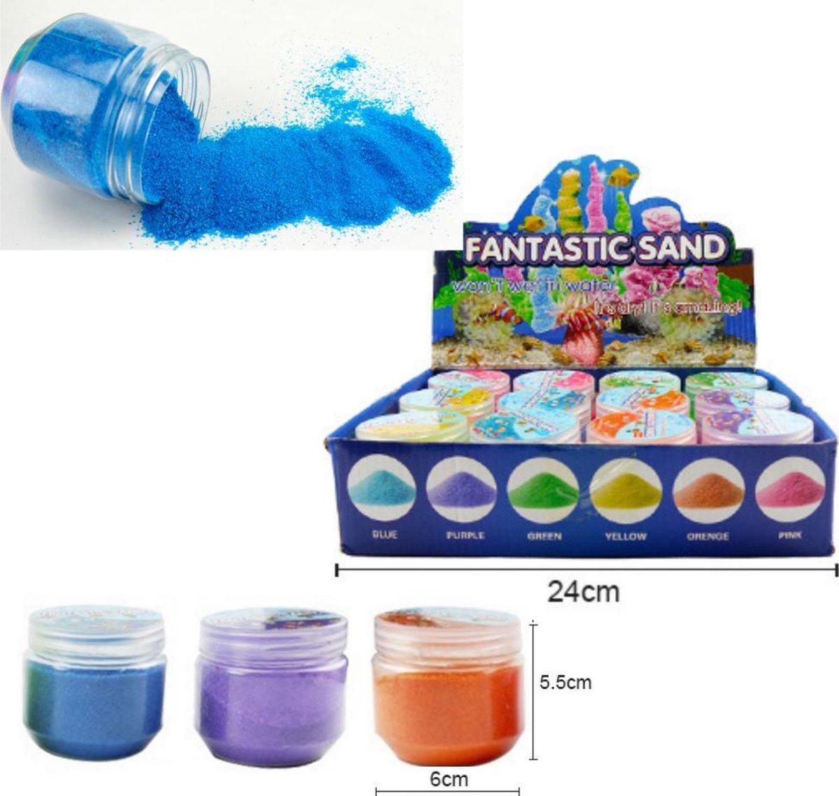 Speelzand - Magisch Zand - Magic Sand - Kinetic Sand - Zand Dat Niet Nat wordt - In 3 Kleuren - Blauw - Paars - Oranje - 107 Gram - Speelgoed Zand Creatief - Fantastic Sand - Speelgoed Voor Kinderen