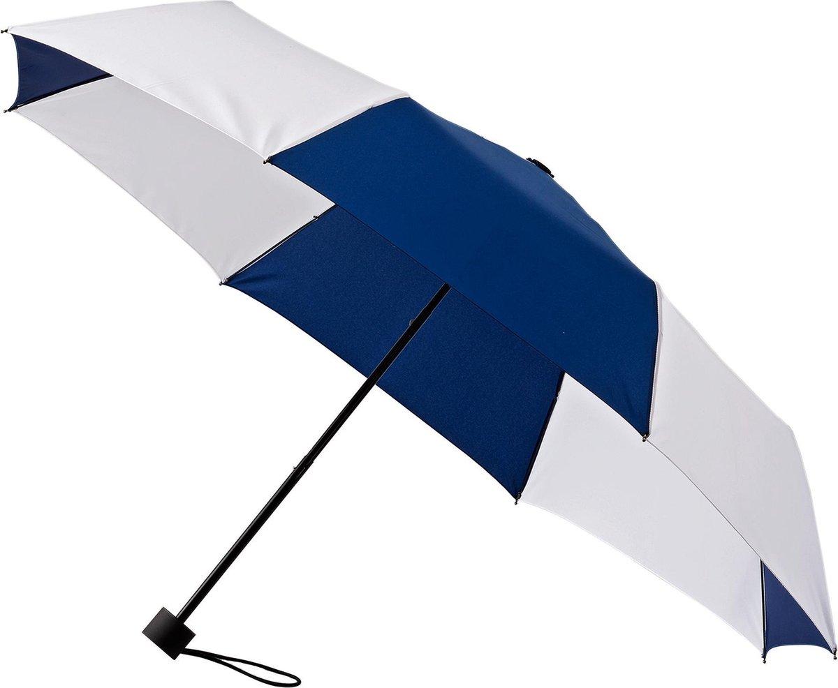 Minimax Paraplu Windproof Handopening 98 Cm Donkerblauw/wit