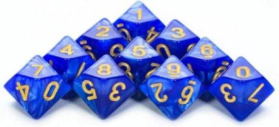 Afbeelding van het spel 10-Kantige Dobbelsteen (SET van 10 STUKS) - D10 - Blauw Goud - Hoge Kwaliteit - 10 Zijdige Dobbelsteen - Stipco
