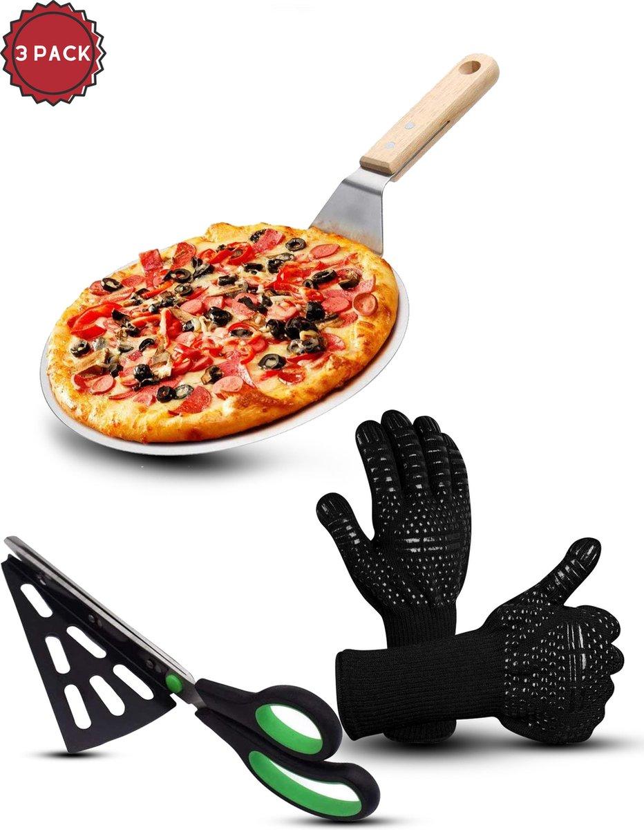 Rednas Pizzaschep voor BBQ en Oven - Pizzaschep met Ovenwanten/BBQ Handschoenen - Pizzaschaar - RVS en hout - incl. 6 e-receptenboekjes