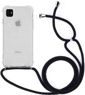 Telefoonhoesje met koord iPhone 11 -  Zwart - Telefoonkoord – Telefoonhoes – Backcover met Koord – Telefoon Koord – Telefoonketting – Telefoonhoesje met Koord – Hoesje met Koord - Ketting Koord  – Transparant -