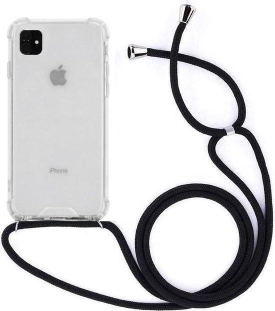 Telefoonhoesje met koord iPhone 11 -  Zwart - Inclusief Microfiber Doekje - Telefoonkoord – Telefoonhoes – Backcover met Koord – Telefoon Koord – Telefoonketting – Telefoonhoesje met Koord – Hoesje met Koord - Ketting Koord  – Transparant -