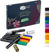 Artina Markilo MA Set van 12 Acryl Markers - Acryl Pennen – Stiften voor volwassenen Inkt Markeerstiften voor Papier Glas, Keramiek Stenen Hout Metaal