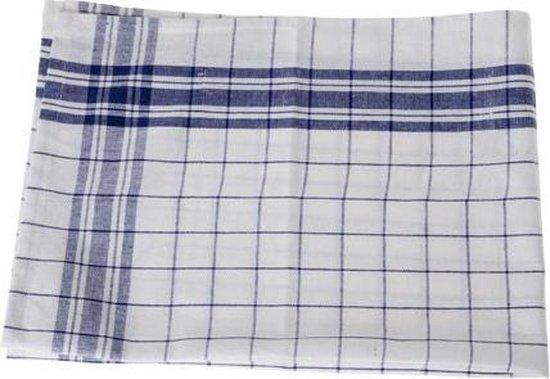 (6 stuks) Keukenhanddoek - Grove Ruit - Blauw-wit - 70x50cm