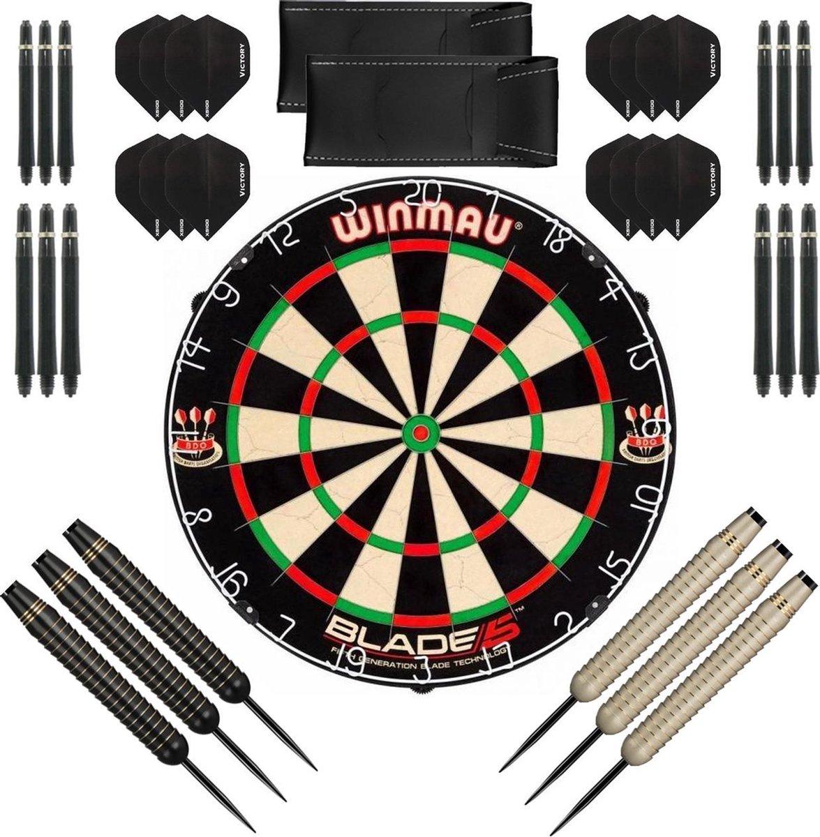 Dragon Darts complete Shark dartset - Winmau blade 5 - dartbord - dart shafts - dart flights - dartpijlen 24 gram - 100% brass - 2 sets - dartpijlen - zwart-wit