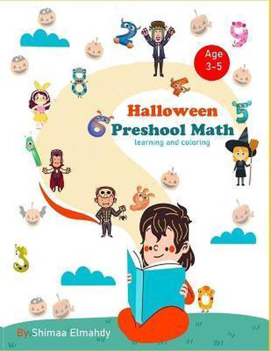 Halloween preschool math learning and coloring
