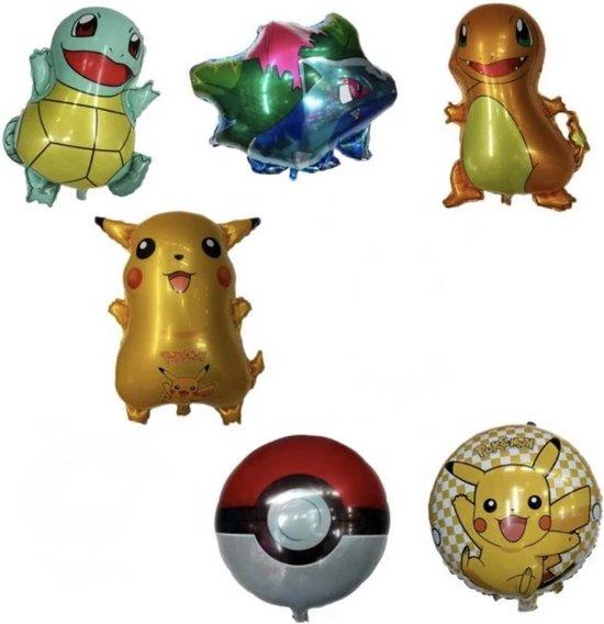 Pokemon folie ballon, 6 folie ballonnen, Pokemon go, Pikachu, feestversiering, verjaardag