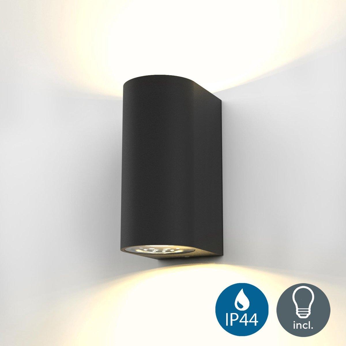 B.K.Licht - Buitenlamp - wandlamp - buitenverlichting - zwart - Ip44 - badkamer - 3.000K - 400Lm - 5