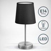 B.K.Licht - Zwarte Tafellamp - klassieke - design - voor binnen - aan/uit schakelaar - slaapkamer - bedlamp - netstroom - stof - E14 fitting - excl. lichtbron