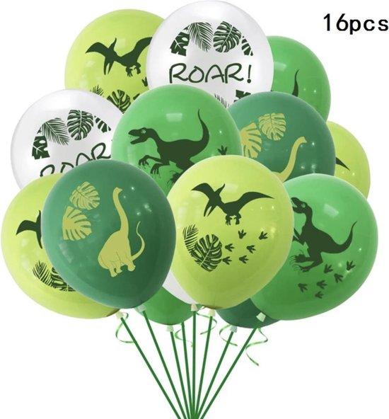 Dinosaurus ballonnen - 16 stuks - 4 verschillende - Dino feestje - Jongen - Meisje - Dino verjaardag - Kinderverjaardag - Kinderfeestje - Safari en Jungle