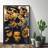 Allernieuwste Canvas Schilderij Hip Hop Legends zonder Handtekeningen - 2PAC, Dr Dre, Snoop Dogg, Eminem, Biggie, Tupac, Ice Cube - 50 x 70 cm - Kleur