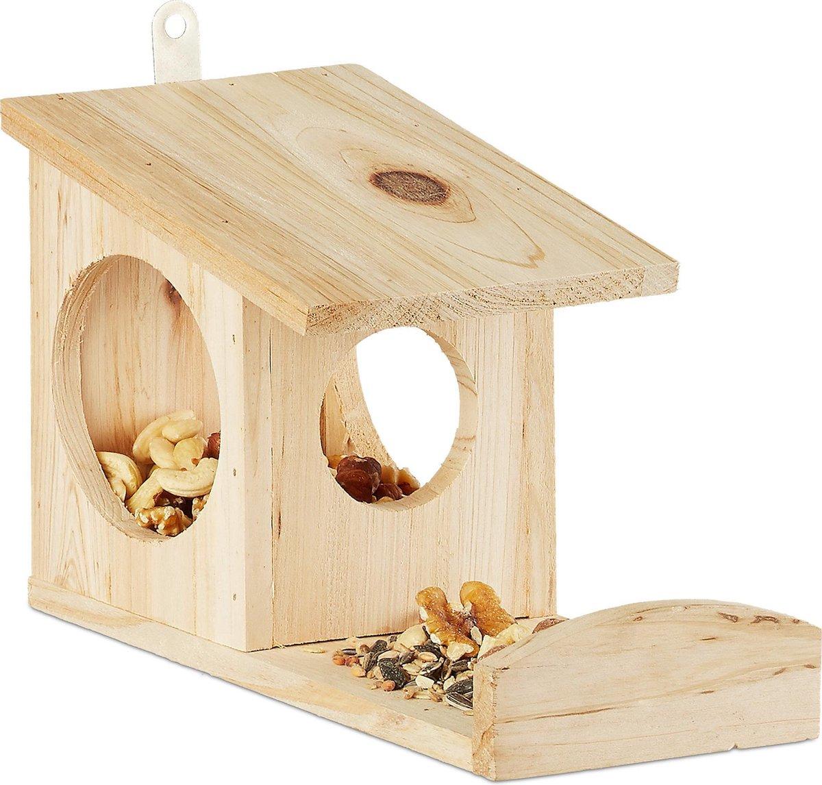 relaxdays eekhoorn voederhuisje - voederhuis - voederkast - voederbak - hout - voederplek Naturel