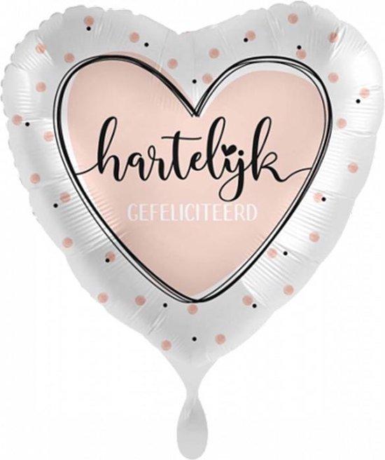 Folieballon - Hartelijk Gefeliciteerd – Hart Roze