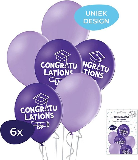 Geslaagd ballonnen - Congratulations ballonnen - Helium ballonnen - Geslaagd versiering -  Gefeliciteerd ballonnen - Geslaagd - 6 stuks