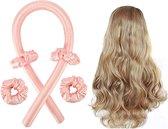 Heatless curls - Zijde haarkruller - Heatless Silk Hair Curlers - light pink