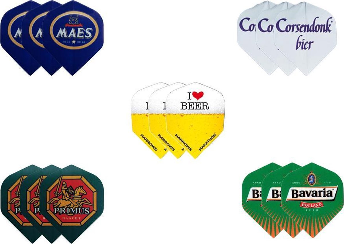 Dragon darts - 5 sets (15 stuks) - darts flights - bierpakket flights - cadeauset - assorti
