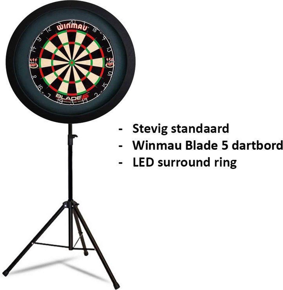 Dragon darts - Portable dartbord standaard LED pakket - inclusief Winmau Blade 5 - dartbord - LED surround ring - zwart