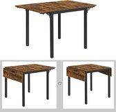eettafel, inklapbare keukentafel voor 2-4 personen, voor kleine ruimtes, vintage bruin-zwart