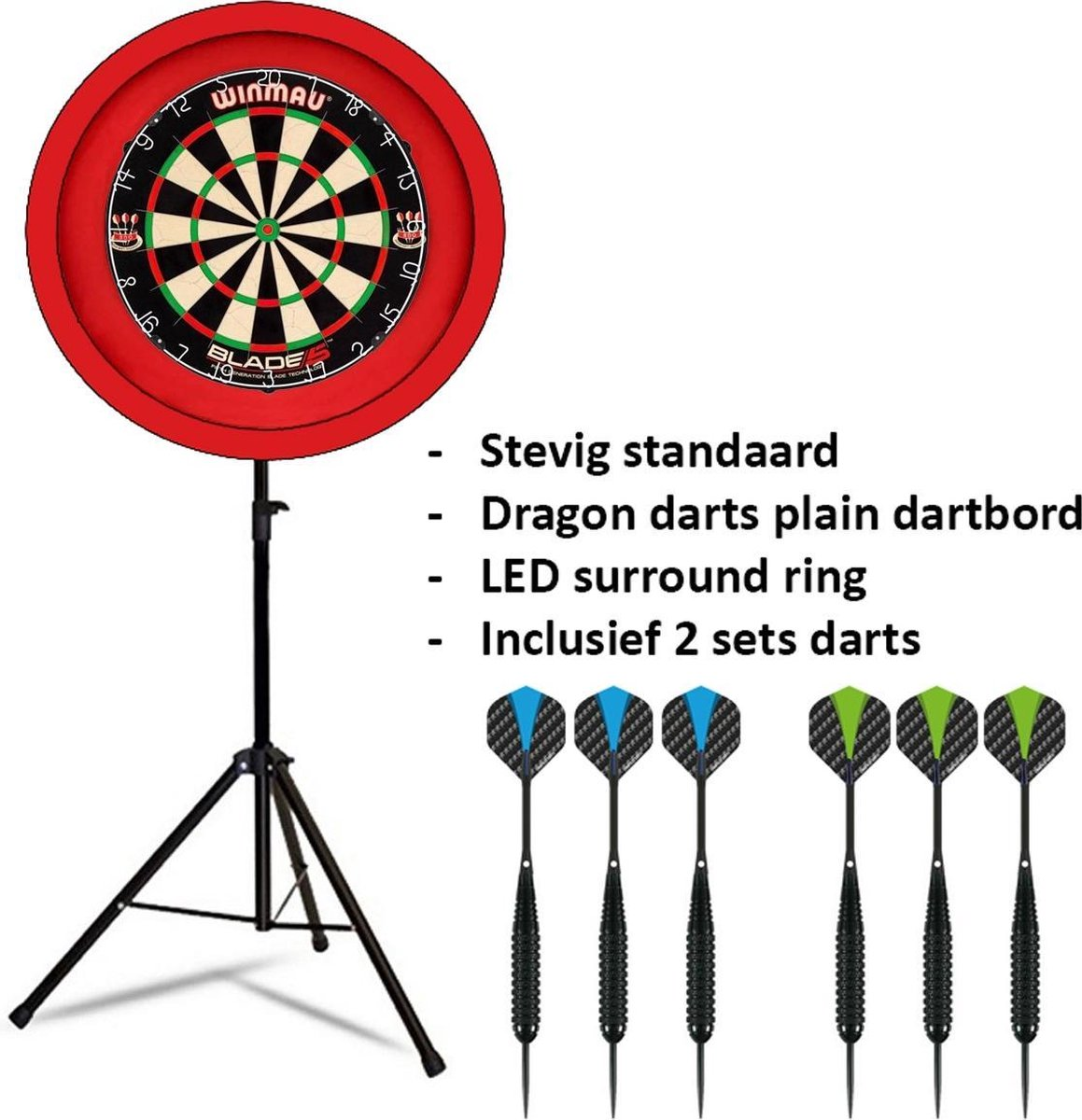 Dragon darts - Portable dartbord standaard LED pakket - inclusief Winmau Blade 5 - dartbord - en - LED surround ring - rood