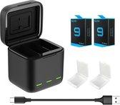 PRO SERIES Led Licht Batterij Oplader met Tf-Kaart Opslag + 2x Batterij 1750 mAh Geschikt voor GoPro Hero 9 / 10 - Zwart