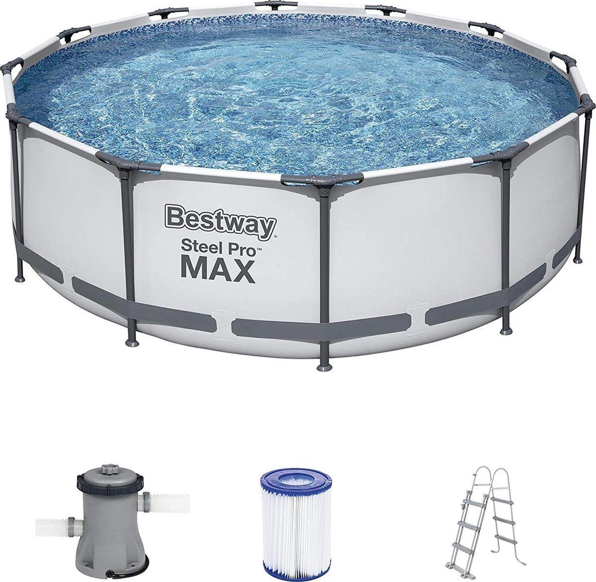 |zwembad achtertuin|zwembad| tuin bad|opbouw zwembadset met filterpomp Ø 366 x 100 cm, grijs, rond