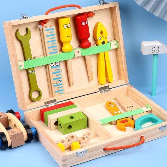 4yourkids - Houten Speelgoed Tools Kit - 35 stuks - Gereedschapskoffer - Simulatie Reparatie Tools - Onderhoud Gereedschap - Vroege educatieve ontwikkeling - Rollenspel - Jongen en meisjes - Kinderen - 3 jaar - Gift