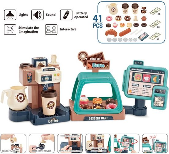 4yourkids - Speelgoed koffiebarset - 41 stuks - koffiemachine - café en bakkers - Kassa - Coffee Shop - Vroege educatieve ontwikkeling - Rollenspel - Jongen en meisjes - Kinderen - 3 jaar - Gift