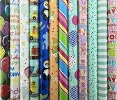 Assortiment cadeaupapier inpakpapier voor kinderen - 200 x 70 cm - 5 rollen