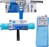 KT Cleaning Ramen wassen set - Raamwisser 35cm - Inwasser - Microvezeldoekjes - Blauw | Wit