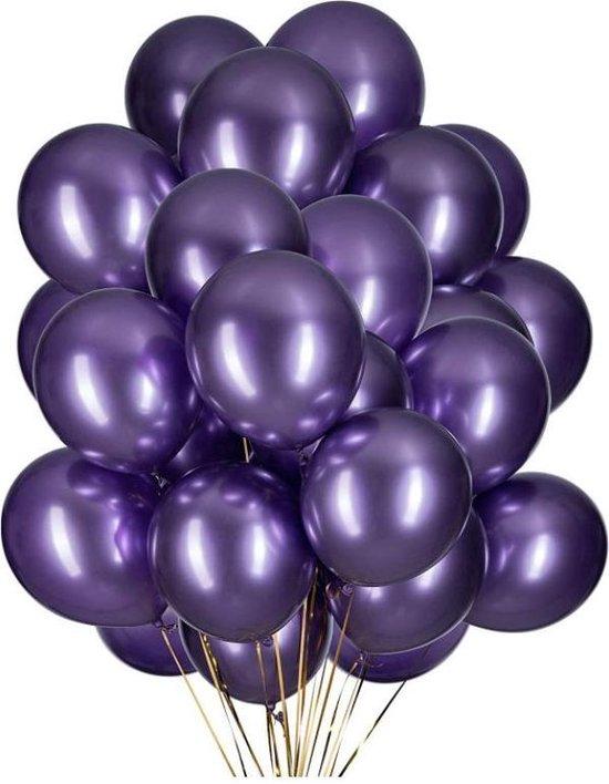 20 Metallic Ballonnen - Paars - 30 cm - Latex - Chroom - Verjaardag - Feest/Party - Ballonnen set -