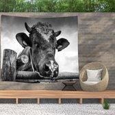 Ulticool - Koe Zwart Wit Dieren - Wandkleed  Poster - 200x150 cm - Groot wandtapijt -  Tuinposter Tapestry