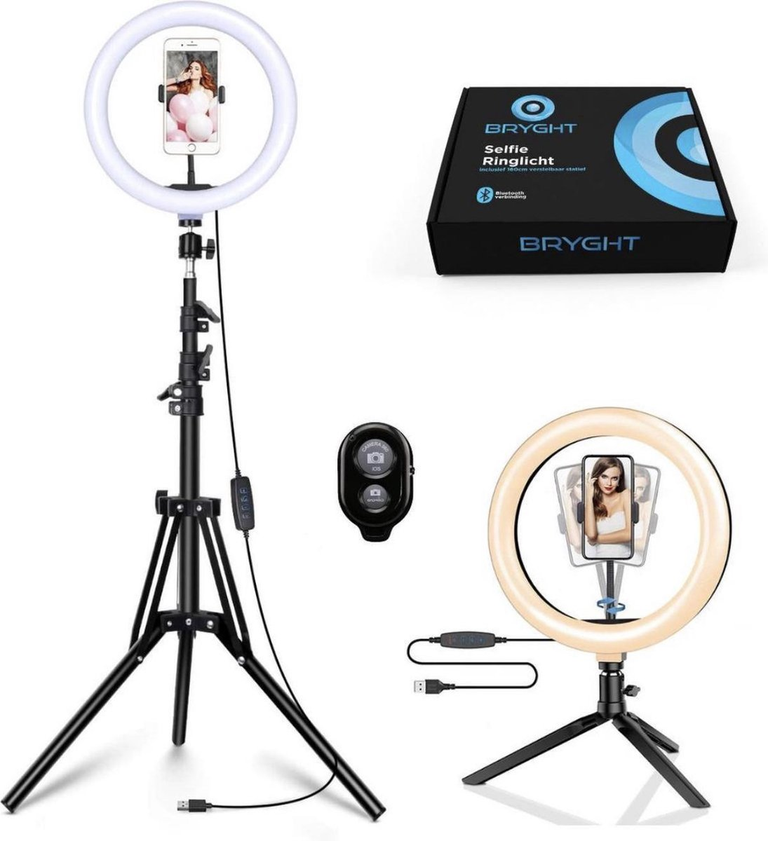 BRYGHT 10 Inch LED Licht - Smartphone Statief - Ringlamp - TikTok - Ringlight met statief - 160cm st
