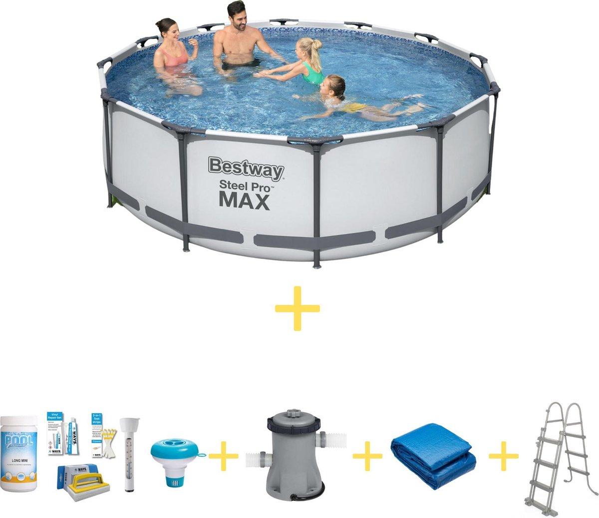 Bestway Zwembad - Steel Pro MAX - 366 x 76 cm - Inclusief WAYS Onderhoudspakket, Filterpomp, Grondzeil & Safety Ladder