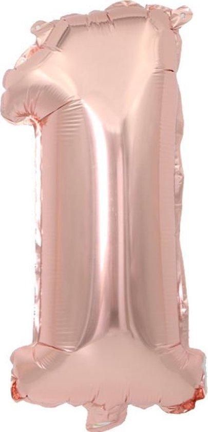 Cijfer ballon 1 jaar Babydouche - Rose Goud Folie helium ballonnen - 100 cm - Verjaardag versiering