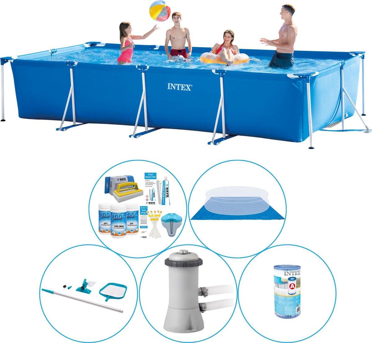 Zwembad Met Accessoires - 6-delig - Intex Frame Pool Rechthoekig 450x220x84 cm